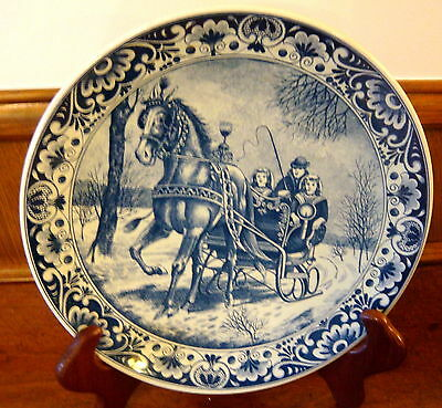 """Vintage Delfts Blauw 11 3/4"""" Wall Plate - Horse & Sleigh Winter Scape"""