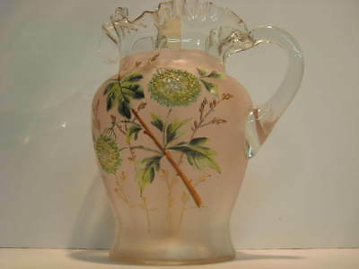 Bohemian Glass Pitcher Hand Blown