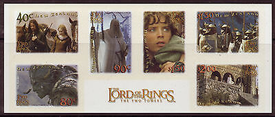"""New Zealand 2002 Lord Of The Rings """"The Twin Towers"""" Set Of 6 Self Adhesive Mnh"""