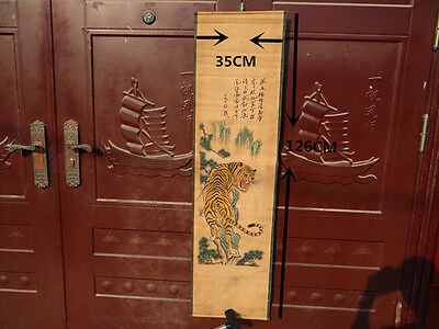 Chinese old Hanging Paper murals-Hand painted scroll painting animal tiger -虎