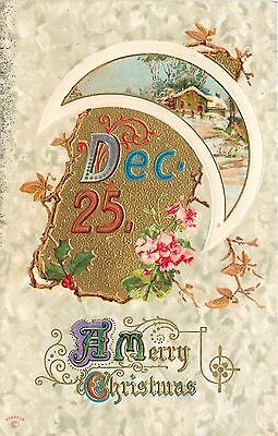Christmas Calligraphy~White Portal Crescent Moon~Snowy Home~Pink Flower~P Sander
