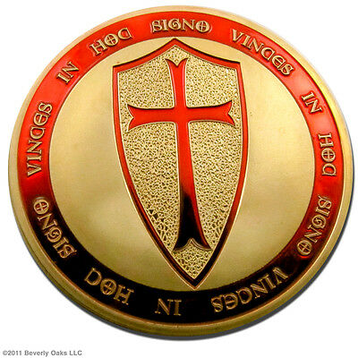 1 Troy Oz. Gold Knights Templar Coin Collectible 24k Gold Clad Art Series Round