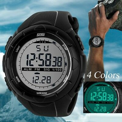 Fashion Men LED Digital Date Military Sport Rubber Quartz Watch Alarm Waterproof