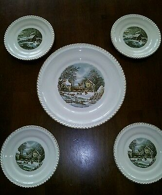 Christmas Harkerware Set Cake Plate Dessert Plates Gold Trim by Currier & Ives