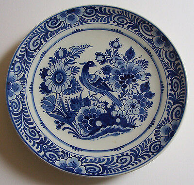 ROYAL DELFT PORCELEYNE FLES WALL PLATE PEACOCK DESIGN