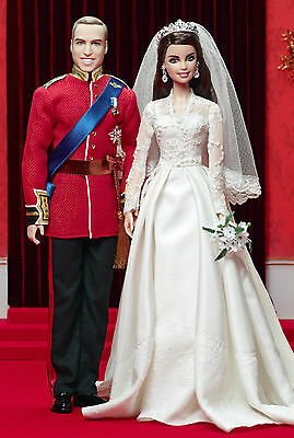 Prince William and Catherine Royal Wedding Barbie Doll Set-Gold Label-New In Box