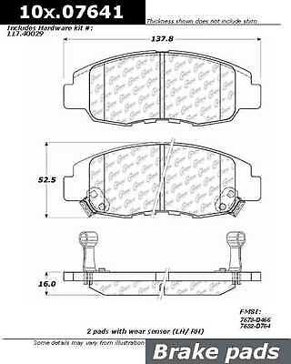 Posi-Quiet Extended Wear w/Shims & Hardware fits 1998-2002 Honda Accor