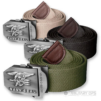 Helikon Army Military Us Navy Seals Canvas Belt Metal Buckle Black Green Khaki