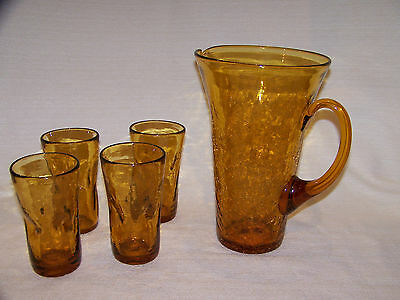 Gorgeous Vtg Lg Hand-blown Amber Crackle Glass Pitcher & 4 Pinched Tumbler Set