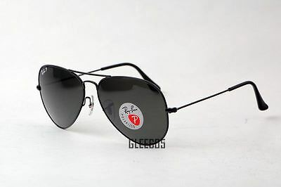 Ray-Ban New 3025 RB3025 Polarized 002/58 Black Aviator 58mm Sunglasses