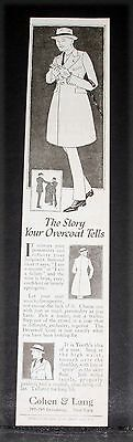 1919 Old Magazine Print Ad, Cohen & Lang, The Story Your Overcoat Tells!