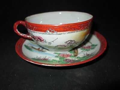 Hand Painted Oriental Made In Japan Tea Cup / Saucer Vintage