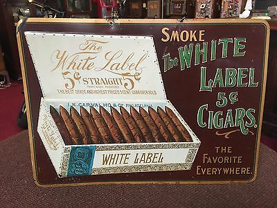 1800s WHITE LABEL 5 Cent Cigar Embossed Tin Ad Sign