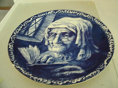 Vintage Delft Boch Freres Belgium  Plate  Old Woman