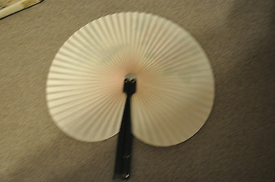 VINTAGE CHINESE PAPER ORNATE HAND HELD FAN - PINK/PEACH ROSE WITH BUTTERFLY