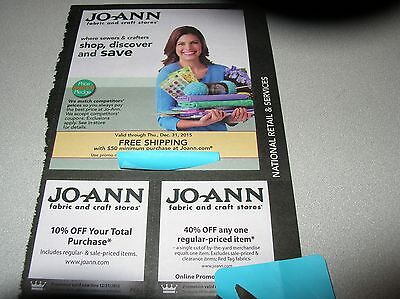 Gift Card coupon JoAnn Fabrics 10% & 40% off purchase Exp Dec 31, 2015