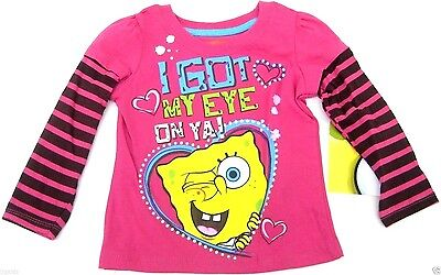 Nickelodeon Spongebob Pink Toddler Girls T-Shirt Size 2T 3T 4T i Got My New Tags