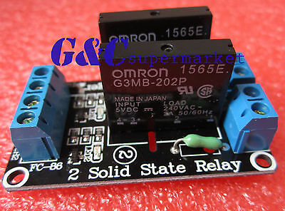 1pcs 5v 2 Channel OMRON SSR G3MB-202P Solid State Relay Module For Arduino M63