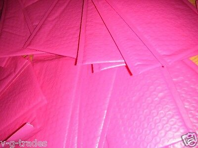 LOT OF 20 HOT PINK - 4X8 POLY BUBBLE SHIPPING MAILERS #000 XWIDE 4.5X8 ENVELOPES