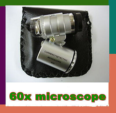 New Mini Jeweller 60X Pocket Microscope Jewelry Magnifier Loupe 3 LED & UV light