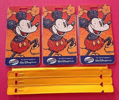 Set of 3 WALT DISNEY WORLD MICKEY MOUSE AMERICAN TOURISTER OFFICIAL LUGGAGE TAGS