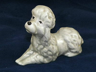 """Gray Poodle Figurine, Ceramic, 5"""" Long, Laying Down"""