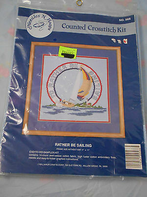 """""""I'd  Rather be Sailing"""" Counted Cross Stitch Kit,  11"""" X 11"""", New ,Willmaur"""