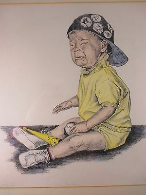 """LIMITED EDITION ART PRINT """"HEARTBROKEN"""" CRY BABY RED SOX FAN 16"""" X 16"""" DIANE MOS"""