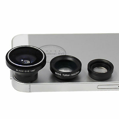 3 in 1 180° Black Fish Eye Lens + Wide Angle + Macro Lens for iPhone 5 5S 5C 4S