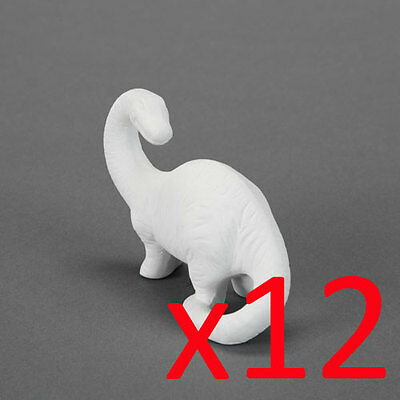 Ceramic Bisque Kids Party Plaster Painting Figurine - Brontosaurus 12 x Dinosaur