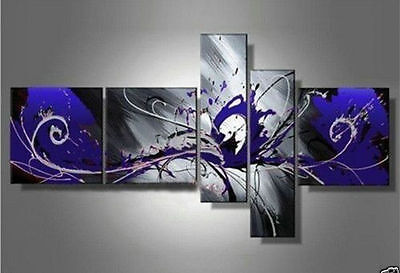 5PC Purple Modern Abstract Art Huge Oil Painting Wall Deco On Canvas No Frame093