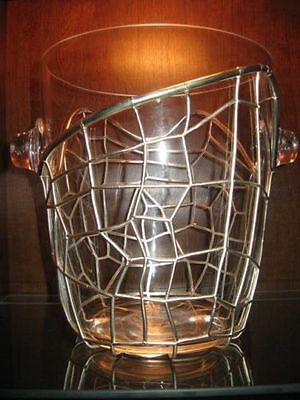 PAMPALONI SILVER PLATED AND CRYSTAL CHAMPAGNE OR WINE COOLER  (FLORENCE, ITALY)