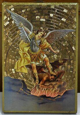 Saint Michael, Gold Foiled Embossed Wood Plaque, Crafted in Italy, Beautiful