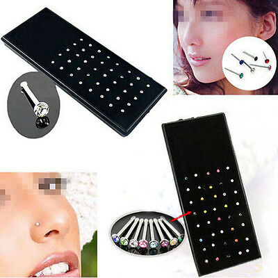 40X Crystal Rhinestone Women Nose Ring Bone Stud Body Piercing Jewelry NEW