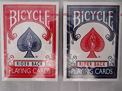 Bicycle Rider Back Playing Cards.  2 decks (1 Red and 1 Blue)
