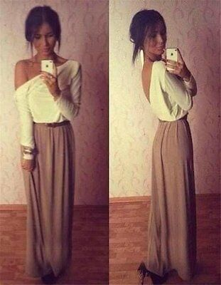 Elegant Women Chiffon Sexy Backless Party Evening Cocktail Prom Long Maxi Dress