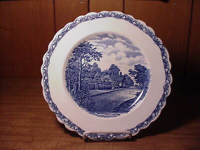 FLOW BLUE COUNTRY SIDE DINNER PLATE BY OLD HALL EARLY