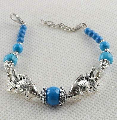 New Classical hot Turquoise cute tibet silver Bracelet H-802