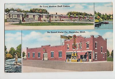 Michigan MI Postcard Old ESCANABA 4View DE LUXE MODERN SHELL CABINS
