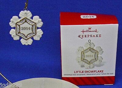 Hallmark Miniature Porcelain Ornament Little Snowflake 2014 NIB Free Shipping