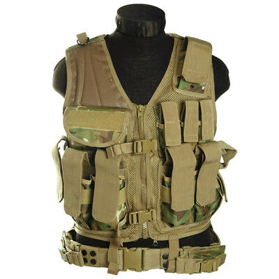 Military Patrol USMC Tactical Vest + Mag Pouches Airsoft Army Arid Woodland Camo