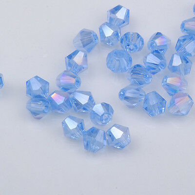 100pcs light blue ab exquisite Glass Crystal 4mm #5301 Bicone Beads  @2
