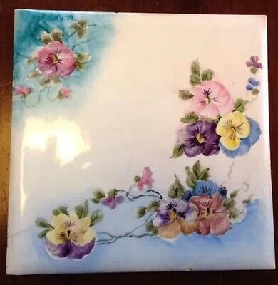 Wheeling Hand-Painted Pansies Tile Signed Dated 37 Very Old