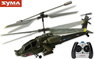 Genuine Syma 3.5 Channel Apache Military Coaxial RC Gyro Helicopter