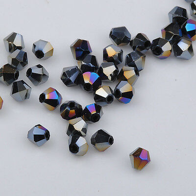 100pcs black ab exquisite Glass Crystal 4mm #5301 Bicone Beads loose beads