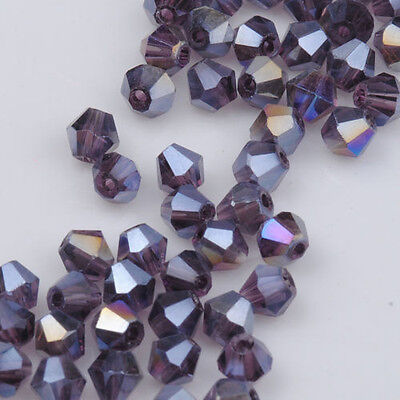 100pcs purple ab exquisite Glass Crystal 4mm #5301 Bicone Beads loose beads