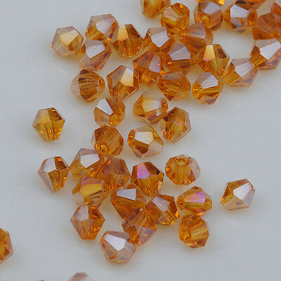 100pcs AB Amber Crystal 4mm #5301 Bicone Beads loose beads ^Free Shipping %
