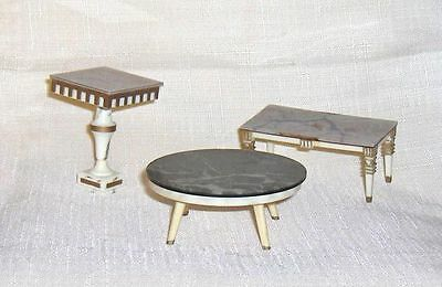 Three  Occasional Tables   Ideal Petite Princess Dollhouse Furniture