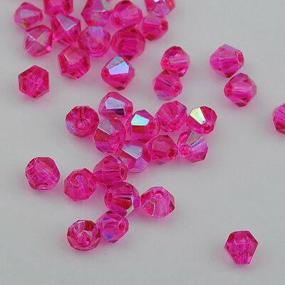 100pcs rose ab exquisite Glass Crystal 4mm #5301 Bicone Beads loose beads】