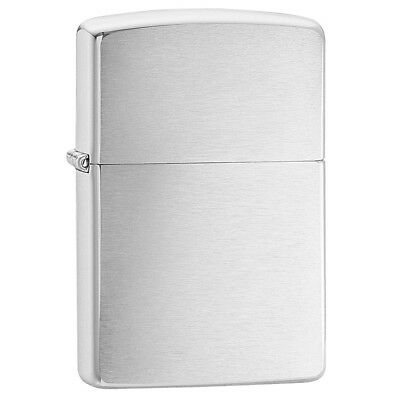 Zippo Brushed Chrome Regular Windproof Lighter Classic Plain Lifetime Guarantee